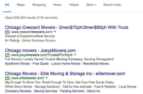 Chicago Movers PPC